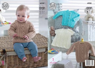 King Cole Knitting Pattern - Baby Childrens Cardigan, Sweater and Dress 4950